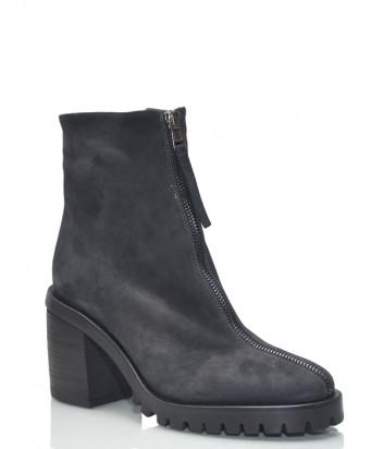 Черные замшевые ботинки Fru.it 5927 с молнией на широком каблуке