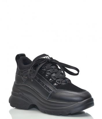 Кожаные кроссовки SixtySeven 30263 с глиттером черные