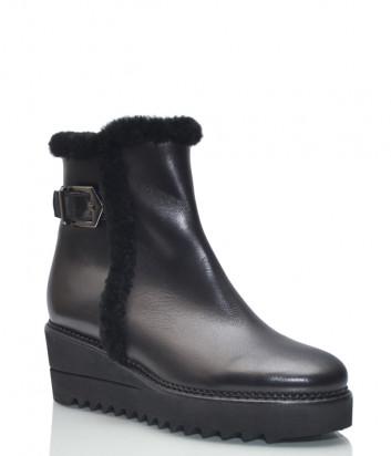Кожаные ботинки Luca Grossi 222 на танкетке с мехом черные