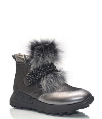 Кожаные ботинки Lab Milano 86101 с мехом и декором серые