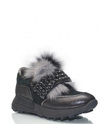 Кожаные кроссовки Lab Milano 86102 с мехом и декором серые