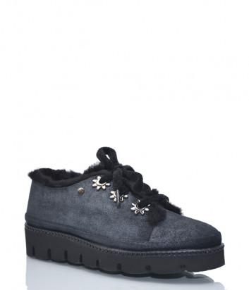 Кожаные туфли Lab Milano 19703 на меху черные с напылением