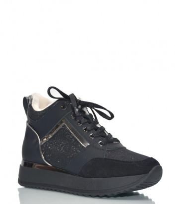 Кроссовки на меху Baldinini 1279 в коже с лазерной обработкой черные