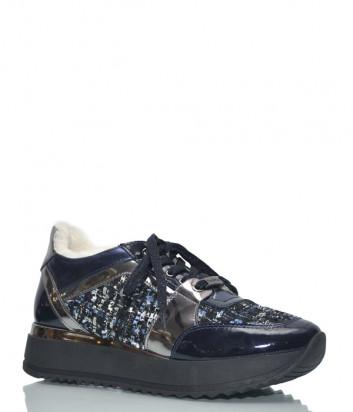 Кроссовки на меху Baldinini 8891A в лаковой коже с твидом синие