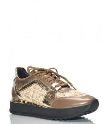 Кожаные кроссовки Baldinini 8891 с твидовыми вставками коричневые