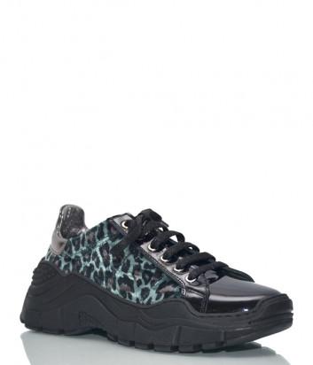 Лаковые кроссовки Baldinini 8008 с леопардовым принтом