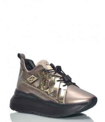 Кожаные кроссовки Baldinini 8134 с мехом на платформе золотые