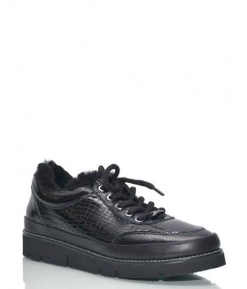 Кожаные туфли Roberto Serpentini 19KAO58 с мехом черные
