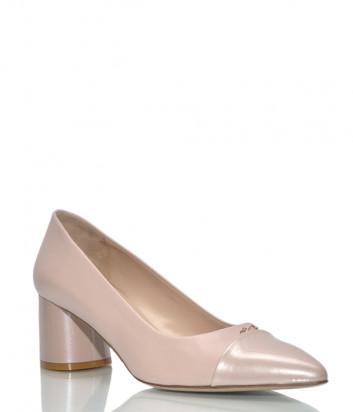Кожаные туфли Musella 19902 на среднем каблуке пудровые