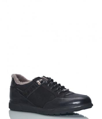 Кожаные ботинки Roberto Serpentini 58009 с мехом черные