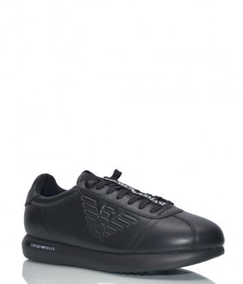 Кожаные кроссовки Emporio Armani X4X260 черные