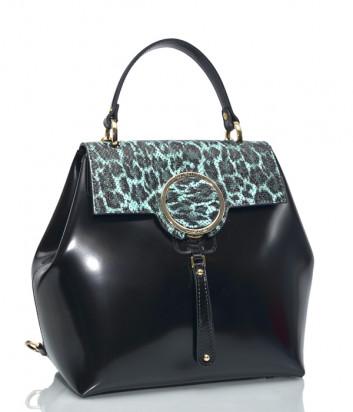 Рюкзак Gilda Tonelli 0789 в полированной коже черный с зеленым принтом под змею