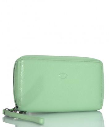 Кожаное портмоне Gilda Tonelli 2968 на молнии зеленое