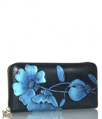 Портмоне на молнии Leather Country 3006 черное с голубым рисунком
