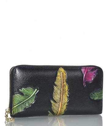 Портмоне на молнии Leather Country 3006 черное с цветным рисунком