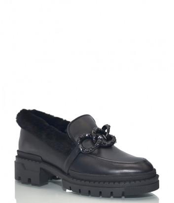 Кожаные туфли Helena Soretti 3132 с мехом черные