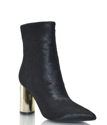 Кожаные ботильоны Jeffrey Campbell Lust черные на золотом каблуке