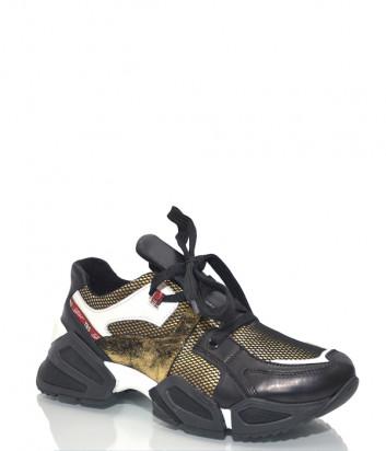Кожаные кроссовки Tosca Blu S086 комбинированные черно-золотые