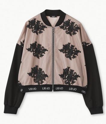 Толстовка Liu Jo T69171 розовая с черной кружевной отделкой