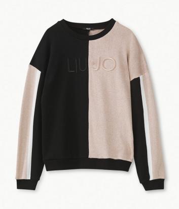 Свитшот Liu Jo T69107 с логотипом бренда розово-черный