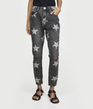 Серые джинсы ONE TEASPOON 22378 с принтом в звезды