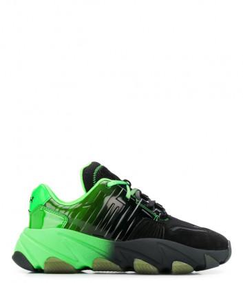 Женские кроссовки ASH Extasy на платформе черно-зеленые