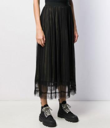 Ярусная юбка TWIN-SET 192TT2150 со сборками черно-золотистая