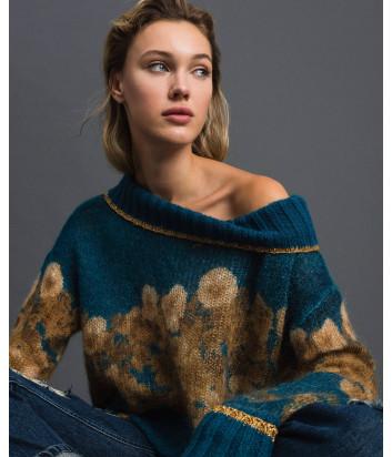 Бирюзовый свитер TWIN-SET 192TT3332 с золотистым узором