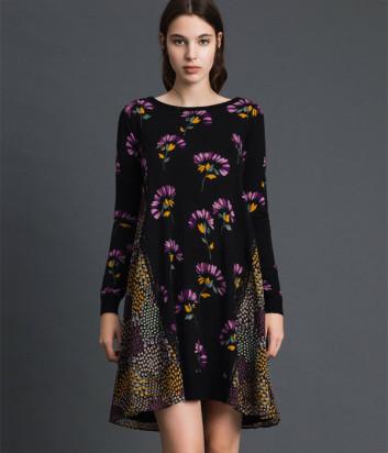 Трикотажное платье TWIN-SET 192TT3341 черное с цветочным узором