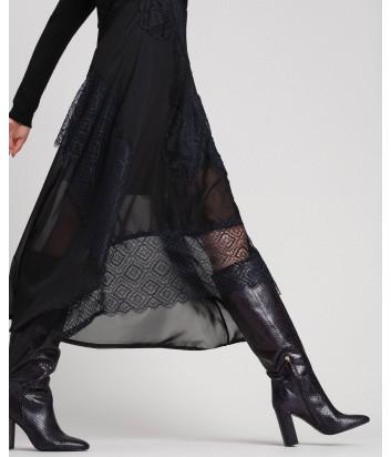 Длинное трикотажное платье TWIN-SET 192TT3080 с кружевом черное