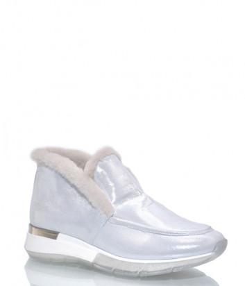 Кожаные полуботинки Helena Soretti 3121 на меху белые