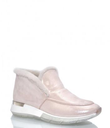Кожаные полуботинки Helena Soretti 3121 на меху розовые