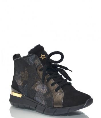 Замшевые кроссовки Helena Soretti 3124 на меху черные с принтом