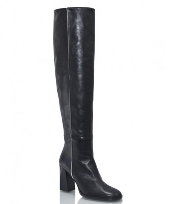 Кожаные сапоги H'estia di Venezia 1638 на устойчивом каблуке черные