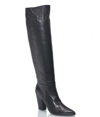 Кожаные сапоги H'estia di Venezia 9815 с заостренным носком черные