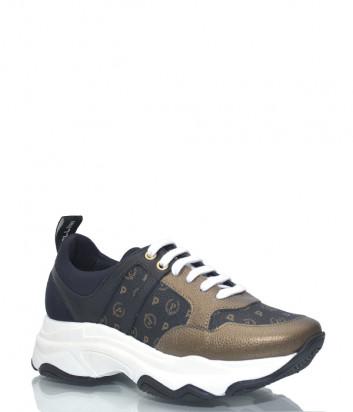 Кроссовки Pollini 15055 на платформе коричневые с принтом