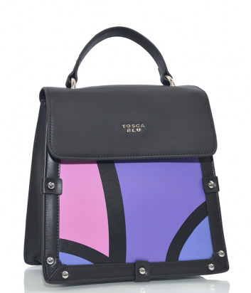 Кожаный рюкзак-сумка Tosca Blu TF19DB172 черный с фиолетовым рисунком