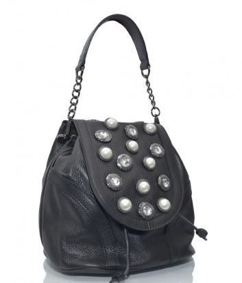 Кожаный рюкзак Tosca Blu SF1901B020 черный с декором
