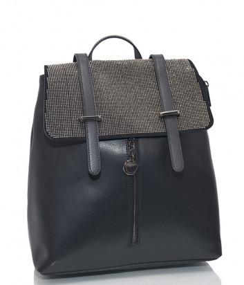 Кожаный рюкзак Tosca Blu B026 черный с декором