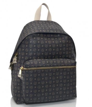 Рюкзак Pollini Q1110 с внешним карманом коричневый и бежевая ручка