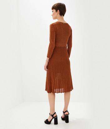 Трикотажное платье Liu Jo M69175MA56G с плиссировкой бронзовое