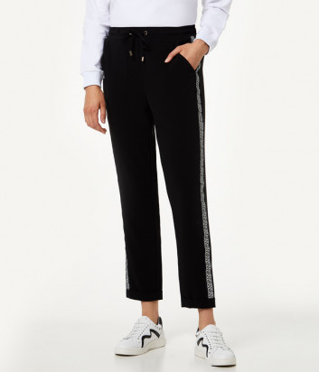 Спортивные брюки Liu Jo T69039T8423 с брендированными лампасами черные