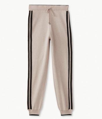 Трикотажные брюки Liu Jo T69011MA09E с лампасами цвета пудры