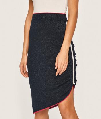Трикотажная юбка Liu Jo T69010MA09E синяя с люрексом
