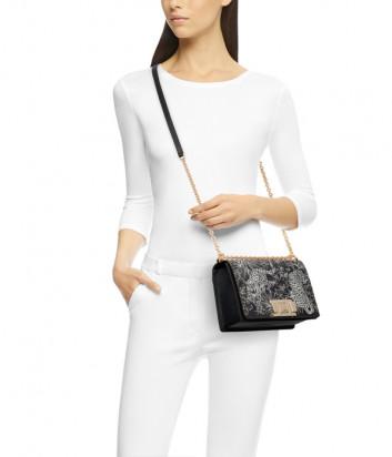 Кожаная сумочка на цепочке Furla Mimi Mini 1045371 черная с рисунком