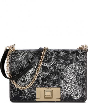 Кожаная сумка на цепочке Furla Mimi 1045355 черная с рисунком