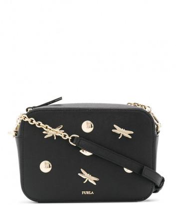 Кожаная сумка Furla Brava 1045176 черная с декором