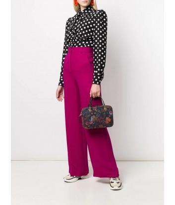 Кожаная сумка Furla Brava 1044710 черная с цветочным принтом