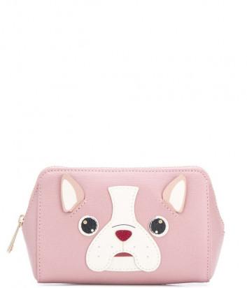 Кожаная косметичка Furla Allegra 1045788 розовая с аппликацией