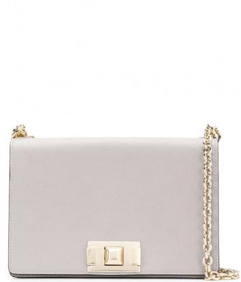 Кожаная сумка на цепочке Furla Mimi 1031800 с откидным клапаном серая